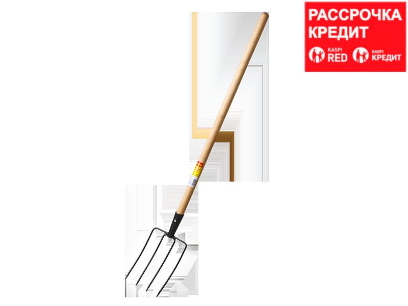 GRINDA 180х300х1330 мм, вилы навозные кованые, четырёхрогие, с деревянным черенком (39723)