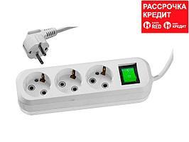 Удлинитель СИБИН электрический, ПВС сечение 0,75кв мм, 3 гнезда, макс мощн 2200Вт, 2м, заземление, выключатель (55036-2)