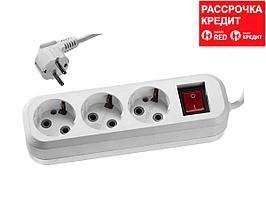 Удлинитель СИБИН электрический, ПВС сечение 0,75кв мм, 3 гнезда, макс мощн 2200Вт, 3м, заземление, выключатель (55036-3)