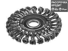 Щетка крацовка дисковая для УШМ DEXX 35100-125, жгутированные пучки стальной проволоки 0,5 мм, 125 мм/ 22 мм