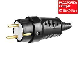 Вилка СИБИН электрическая ударопрочная, с заземлением, 16А/220В, черная (55115-B)