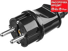 Вилка MAXElectro электрическая, 16А/220В, с заземлением, черная, STAYER (55160-B)