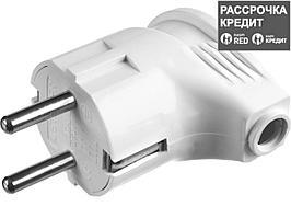Вилка MAXElectro электрическая, 16А/220В, угловая, с заземлением, белая, STAYER (55161-W)