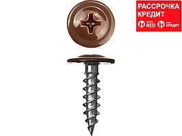 Саморезы ПШМ для листового металла, 16 х 4.2 мм, 500 шт, RAL-8017 шоколадно-коричневый, ЗУБР (300191-42-016-8017)