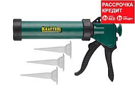 KRAFTOOL универсальный закрытый пистолет для герметика Professional, 3 сменных сопла. (06677_z01)