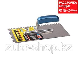STAYER Profi 130х280 мм, 6х6 мм, гладилка штукатурная зубчатая нержавеющая с деревянной ручкой (0802-06)