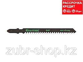 Пилки для электролобзика KRAFTOOL 159521-4, Cr-V, по дереву, ДВП, ДСП, быстрый рез, EU-хвостик, шаг 4 мм, 75 мм, 2 шт