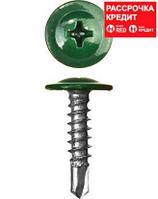 Саморезы ПШМ-С со сверлом для листового металла, 25 х 4.2 мм, 400 шт, RAL-6005 зеленый насыщенный, ЗУБР (300211-42-025-6005)