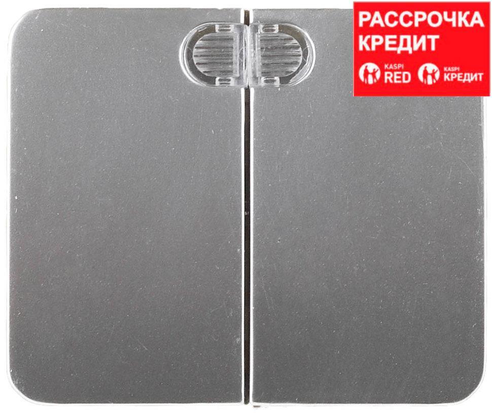 """Выключатель СВЕТОЗАР """"ГАММА"""" с подсветкой, двухклавишный, без вставки и рамки, цвет светло-серый металлик, 10A/~250B (SV-54135-SM)"""