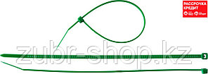 Кабельные стяжки зеленые КС-З1, 3.6 x 200 мм, 100 шт, нейлоновые, ЗУБР Профессионал (309060-36-200)