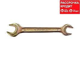 Рожковый гаечный ключ 19 x 22 мм, STAYER (27038-19-22)