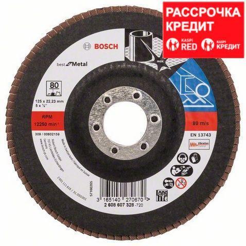 Лепестковый шлифовальный круг прямой Bosch Best for Metal K 80, 125 мм