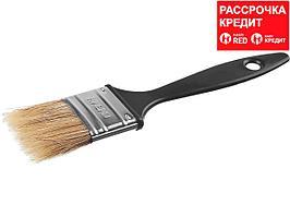 Кисть плоская СИБИН, пластиковая ручка, светлая смешанная щетина, 38мм (01008-038)