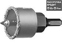 """Коронка-чашка ЗУБР """"ПРОФЕССИОНАЛ"""" c карбид-вольфрамовым нанесением, 38 мм, высота 25 мм, в сборе с державкой и"""