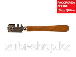 """Стеклорез ЗУБР """"ЭКСПЕРТ"""", деревянная ручка, 2 ролика (33630)"""