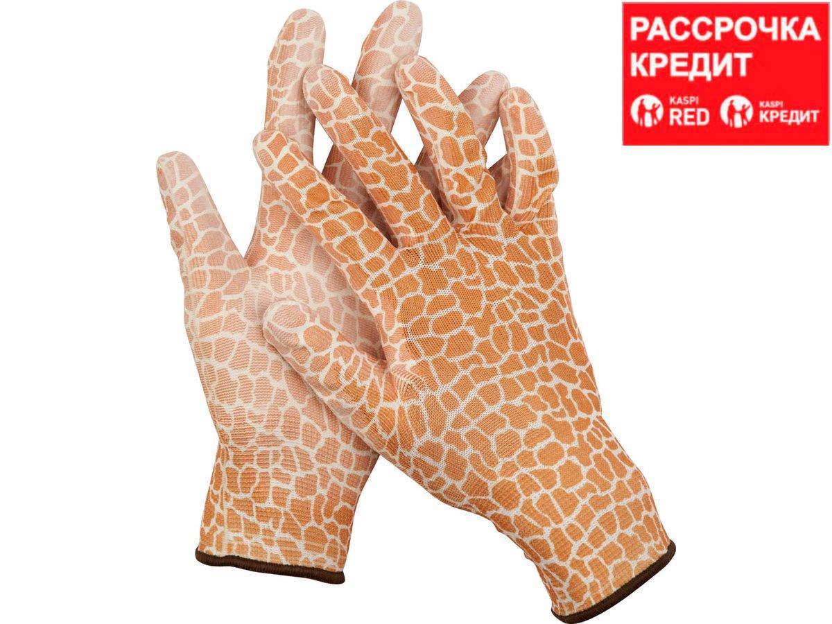 Перчатки GRINDA садовые, прозрачное PU покрытие, 13 класс вязки, коричневые, размер S (11292-S)
