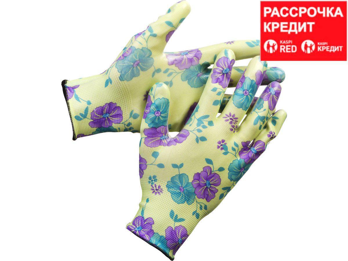 Перчатки GRINDA садовые, прозрачное нитриловое покрытие, размер L-XL, зеленые (11295-XL)