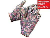 Перчатки GRINDA садовые, прозрачное нитриловое покрытие, размер S-M, черные (11297-S)
