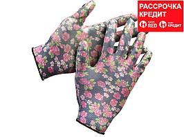Перчатки GRINDA садовые, прозрачное нитриловое покрытие, размер L-XL, черные (11297-XL)
