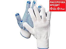 DEXX перчатки рабочие, х/б 7 класс, с ПВХ покрытием (точка) (11400_z01)