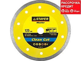 Clean Cut 125 мм, диск алмазный отрезной сплошной по керамограниту, мрамору, плитке, STAYER (36675-125)