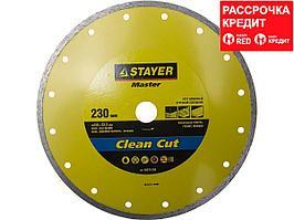 Clean Cut 230 мм, диск алмазный отрезной сплошной по керамограниту, мрамору, плитке, STAYER (36675-230)