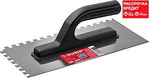 ЗУБР Мастер 130х270мм, 8х8 мм, гладилка штукатурная зубчатая нержавеющая с пластиковой ручкой (08042-08)