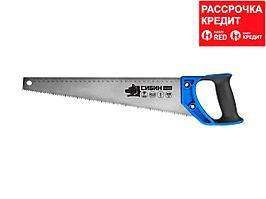 Ножовка по дереву (пила) 500 мм, шаг 4 TPI (6 мм), СИБИН (15055-50)