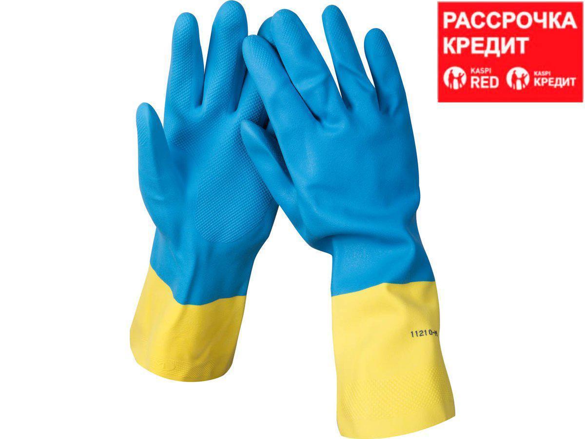 Перчатки STAYER латексные с неопреновым покрытием, экстрастойкие, с х/б напылением, размер L (11210-L)