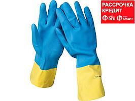 Перчатки STAYER латексные с неопреновым покрытием, экстрастойкие, с х/б напылением, размер S (11210-S)