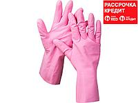 Перчатки хозяйственные латексные ЗУБР МАСТЕР, повышенной прочности, х/б напыление, рифлёные, 100% латекс, 100%