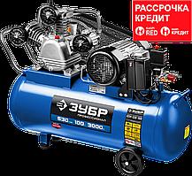 Компрессор ременной, 380 В, 530 л/мин, 100 л, 3000 Вт, ЗУБР (КПМ-530-100)