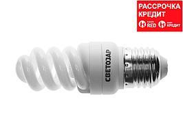 Энергосберегающая лампа, СВЕТОЗАР, КОМПАКТ спираль,цоколь E27(стандарт),Т2,теплый белый свет(2700 К), 8000час, 9Вт(45), 44452-09