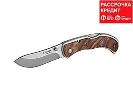 """Нож ЗУБР """"ПРЕМИУМ"""" СКИФ складной, эргономичная рукоятка с деревянными накладками,180мм/лезвие 75мм (47712)"""