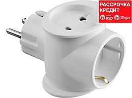 Разветвитель СИБИН электрический с заземлением, 3 гнезда, 16А/220В (55098-3)