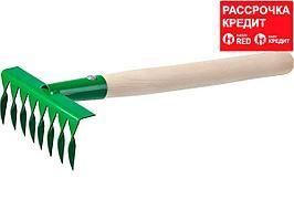Грабельки садовые с деревянной ручкой, РОСТОК 39613, 8 витых зубцов, 160x62x405 мм (39613)