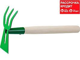 """Мотыга-рыхлитель, РОСТОК 39627, с деревянной ручкой, """"лопатка+3 зуба"""" гнутая, 145x75x390мм (39627)"""