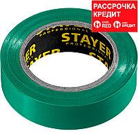 STAYER Protect-10 Изолента ПВХ, не поддерживает горение, 10м (0,13х15 мм), зеленая (12291-G)