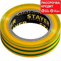 STAYER Protect-10 Изолента ПВХ, не поддерживает горение, 10м (0,13х15 мм), желто-зеленая (12291-S)