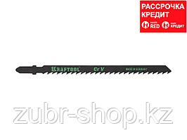 Пилки для электролобзика KRAFTOOL 159522-4, Cr-V, по дереву, ДВП, ДСП, быстрый рез, EU-хвостик, шаг 4 мм, 110 мм, 2 шт