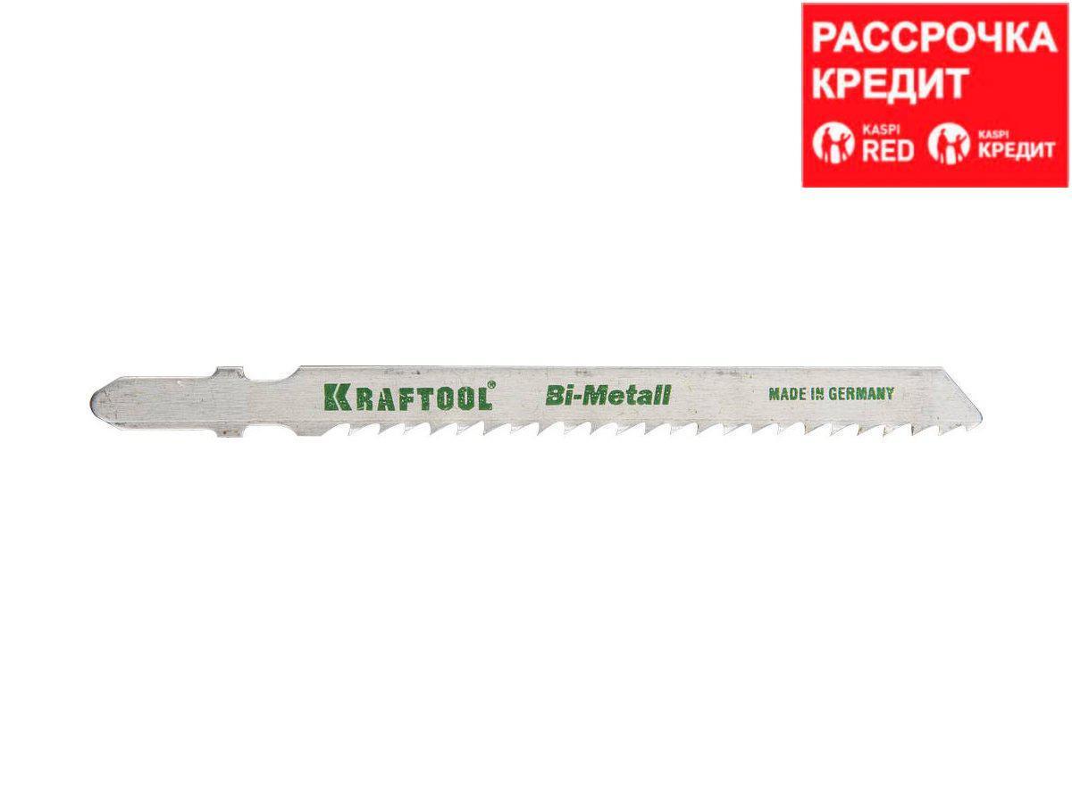 Полотна KRAFTOOL, T127DF, для эл/лобзика, Bi-Metall, по мягкому металлу (3-15мм), EU-хвост., шаг 3мм, 75мм,