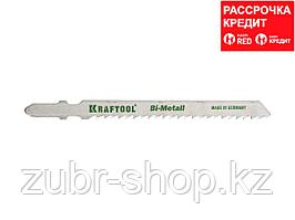 Полотна KRAFTOOL, T127DF, для эл/лобзика, Bi-Metall, по мягкому металлу (3-15мм), EU-хвост., шаг 3мм, 75мм, 2шт (159556-3)