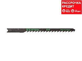 Пилки для электролобзика KRAFTOOL 159623-4, Cr-V, по дереву, ДВП, ДСП, фигурный рез, US-хвостик, шаг 4 мм, 75 мм, 2 шт