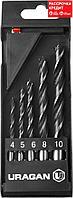 URAGAN 5 шт., 4-5-6-8-10 мм, набор спиральных сверл по дереву (29419-H5)
