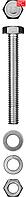 Болт (DIN933) в комплекте с гайкой (DIN934), шайбой (DIN125), шайбой пруж. (DIN127), M6 x 16 мм, 12 шт, ЗУБР (303436-06-016)