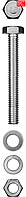 Болт (DIN933) в комплекте с гайкой (DIN934), шайбой (DIN125), шайбой пруж. (DIN127), M8 x 50 мм, 4 шт, ЗУБР (303436-08-050)