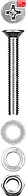 Винт (DIN965) в комплекте с гайкой (DIN934), шайбой (DIN125), шайбой пруж. (DIN127), M4 x 25 мм, 20 шт, ЗУБР (303456-04-025)