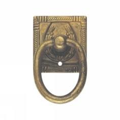 Ручка-кольцо, *Art Nouveau* 33x55мм, латунь пат., прямоуг.накл., винт и гвоздь