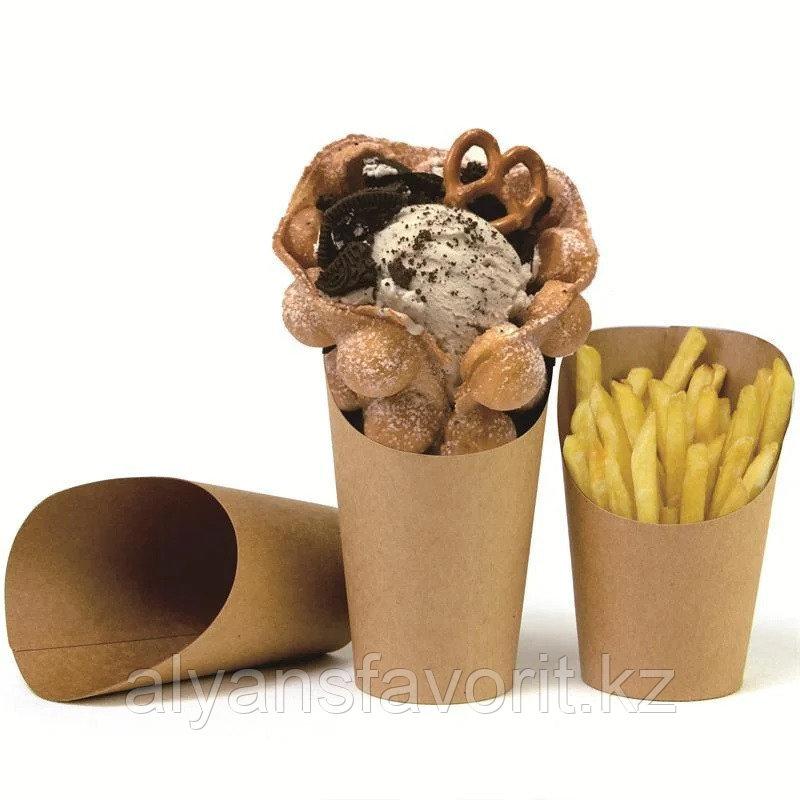 ЕcoSnack Cup М- упаковка для картофеля фри,снеков и поп корна. 480 мл. РФ