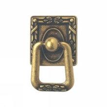 Ручка-кольцо, *Art Nouveau* 33х54мм, латунь пат., квадр. накл., вин